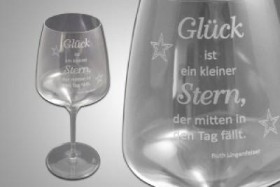 Weinglas mit Glasgravur nach Vorlage
