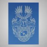 Lasergravur eines Wappens auf Aluminium