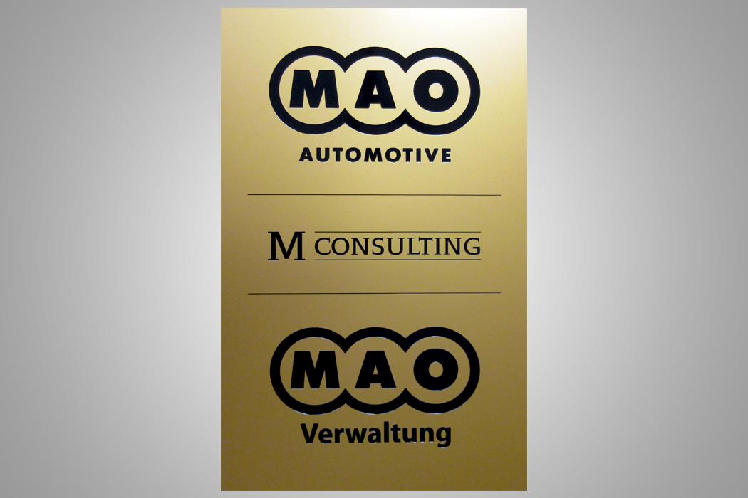 Firmenschild Messing Lasergravur