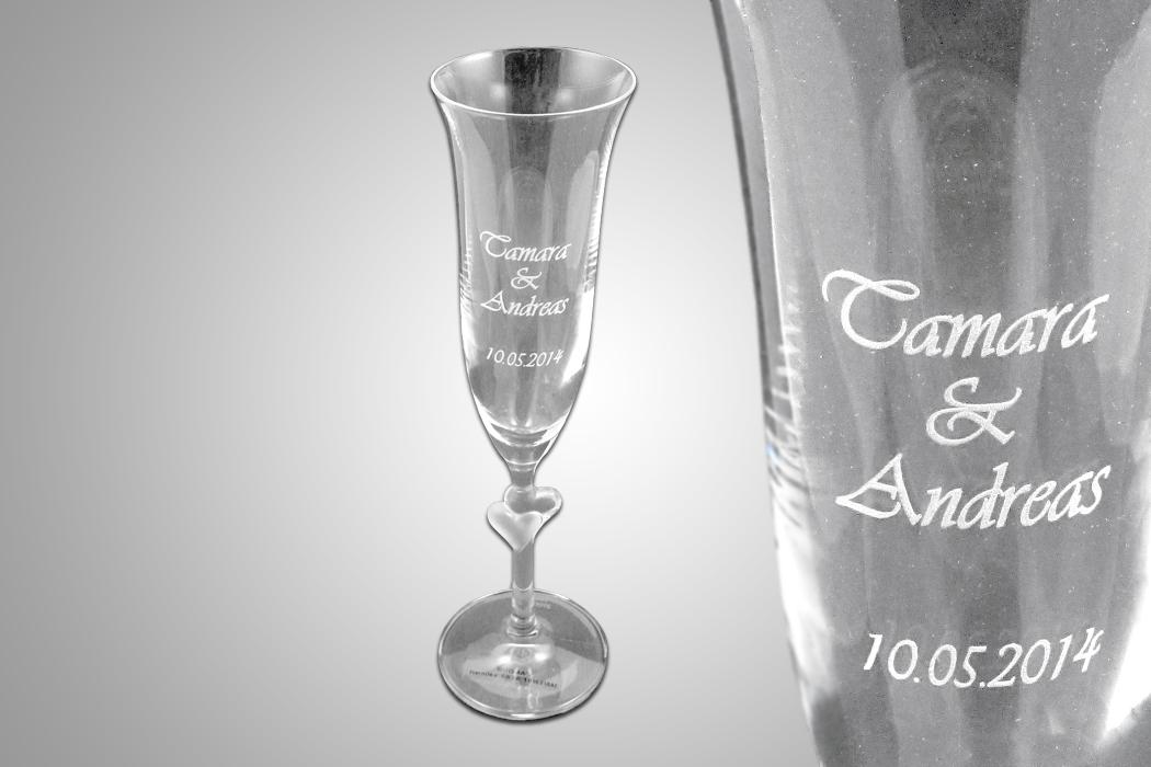 Glas lasergravur schriftzug