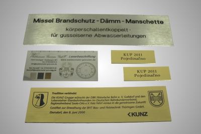 Messingschild und Alu-Schild, graviert durch lasergravur oder Laserbeschriftung