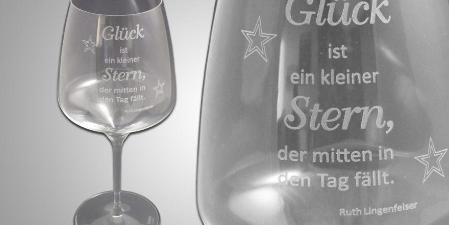 Lasergravur auf Weinglas mit Spruch